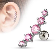 Pink Journey Curve 5 Gems Tragus/Cartilage Piercing Stud 316L Surgical Steel Helix Body Jewelry