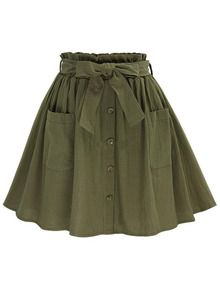 Olive Green Self Tie Button Front Circle Skirt