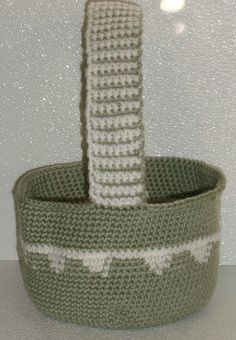 Crochet easter gift basket hand made in usa light peachy variegated crochet easter basket hand made in usa green white 115 by 8 negle Choice Image