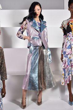 Designer:Tata Naka for LFW AW 16. Pale floral digital print on cashmere jumper (under waistcoat).  Picture Credit: www.vogue.co.uk