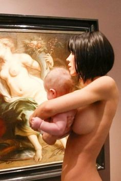 Very Naked Artist Milo Moire And Equally Naked Baby Visit A Museum... Naked