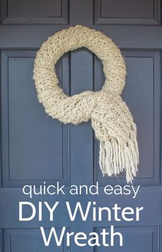 This adorable winter wreath only takes about five minutes to make. It's a fabulous way to repurpose a scarf and is the perfect thing for your front door once Christmas is over.