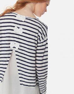 Ριγέ μπλούζα με φιόγκους Sweaters, Fashion, Moda, La Mode, Pullover, Sweater, Fasion, Fashion Models, Trendy Fashion