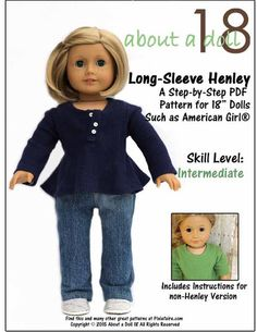 """Long-Sleeve Henley 18"""" Doll Clothes"""