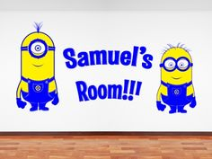 Mionions from Pixars Displicable Me, customised with name. All our wall stickers/decals are available in a great range of sizes and colours - and can be personalised to be truly custom. Wall Stickers Minions, Name Wall Stickers, Christmas Stocking Fillers, Christmas Deals, Dining Room Walls, Boys, Girls, Decals, Range