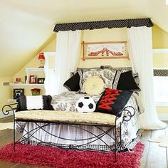 Grown up elegance. The soccer ball adds fun and whimsy to a stately bedroom…