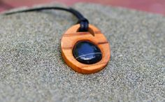 Wooden Pendent with Embedded Beach Stone by FoundwoodDesigns, $18.00