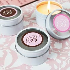Monogram Travel Candle Tins Wedding Favors What is it about travel candles that makes them such perfect gifts? Maybe it's the fact that a candle's gl Candle Wedding Favors, Wedding Shower Gifts, Candle Favors, Personalized Wedding Favors, Unique Wedding Favors, Baby Shower Favors, Baby Shower Gifts, Wedding Ideas, Bridal Shower
