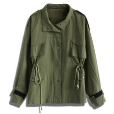Chicwish Go Chic Army Green Military Coat ($73) ❤ liked on Polyvore featuring outerwear, coats, jackets, green, military style coat, olive coat, military fashion, green coat and army green coat