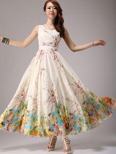 Elegant Floral Print Chiffon Scoop Neck Maxi Dress - Milanoo.com