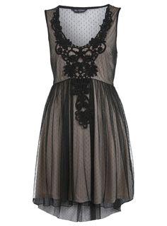 CROCHET TRIM SPOT DRESS   $32