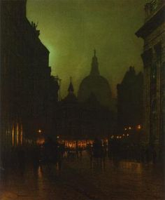 Grimshaw, Cornhill, 1885 -- Ghostly painting of a wet London night. The silhouette of St. Paul's looms over the clattering carriage riders.