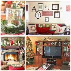 Family Room in Christmas Home Tour with Stone Fireplace, leather furniture, Pottery Barn inspired wall entertainment unit