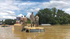 National Guard Trucks at Hwy 16 & Hwy 1028, Denham Springs, Louisiana - Great Flood Aug 15, 2016