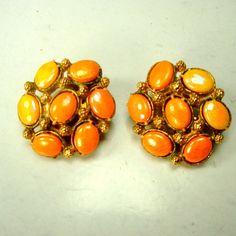 Coral Yellow Orange Clip Earrings 1960s Unused Gift Worthy