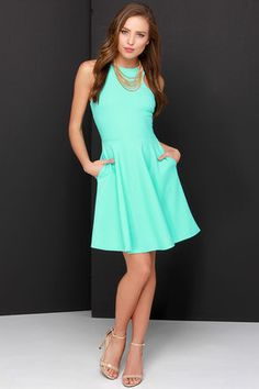 Lovely Mint Green Dress - Skater Dress - Racerback Dress - $44.00