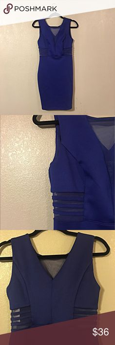 COCKTAIL PARTY DRESS COBALT BLUE COCKTAIL DRESS BRAND NEW  SHEERNESS ON SIDES (AS PHOTOGRAPHED)  FRONT: SHEER V-SHAPE CUT (COLLAR)  BACK: LOWER CUT  SHELL:  96% POLYESTER  4% SPANDEX  CONTRAST: 90% POLYESTER  10% SPANDEX   LINING: 100% POLYESTER   💕THE MORE YOU BUNDLE, THE MORE YOU SAVE💕 Dresses