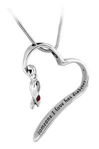 """Purchase this """"Someone I Love Has Diabetes"""" Sterling Heart Necklace and share the love felt for the special person in your life who is affected by diabetes. -- Every Purchase Funds Diabetes Research."""