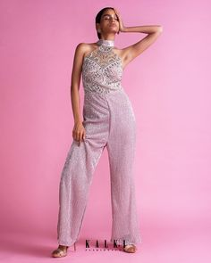 Mauve pink sequins fabric halter neck jumpsuit with attached collar belt. It comes with a heavy embellished bodice in cut dana, pot, sequins. Sequin Fabric, Pink Sequin, Pink Lehenga, Bride Sister, Pink Outfits, Indian Designer Wear, Halter Neck, Pink Dress, Jumpsuit