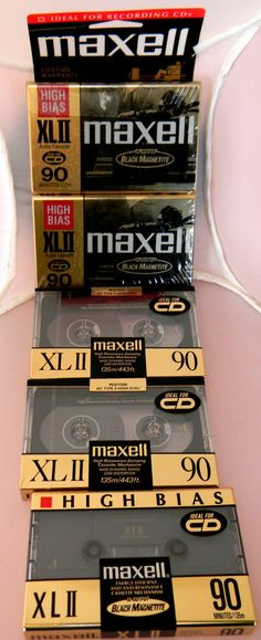 Maxell High Bias XL II 90 Minute Audio Cassette Tapes 5 Pieces