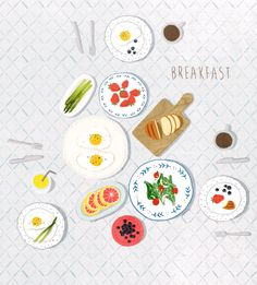 Breakfast by 박지영 on Grafolio Artist Sketchbook, Food Drawing, Art Challenge, Colorful Drawings, Food Illustrations, Cute Food, Gouache, Cute Art, Graphic Illustration