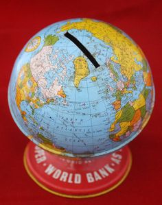 Vintage Globe Bank -Cute gift idea for graduate or birthday - fill with Silver Dollars