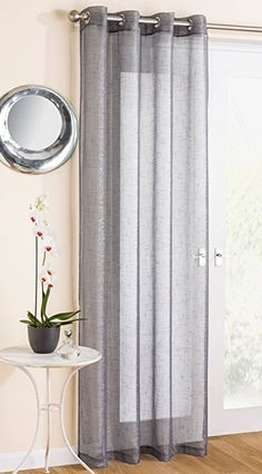 "Grey Sparkle Voile Curtain Panel Eyelet Heading 54"" Wide x 90"" Drop (138cm x 229cm)"