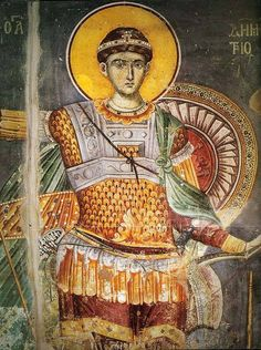 Saint Demetrios, byzantine fresco by Manuel Panselinos. Byzantine Icons, Byzantine Art, Fresco, Greek Icons, Catholic Saints, Orthodox Icons, Thessaloniki, Tempera, Kirchen