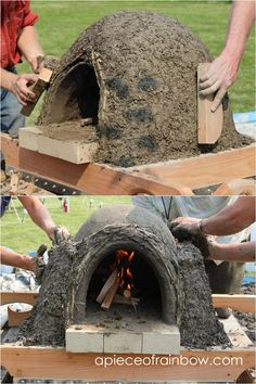 DIY Wood Fired Outdoor Pizza Oven {Simple Earth Oven in 2 days!} Great DIY wood fired outdoor pizza oven with simple low cost materials! Step by step cob / earth oven building tutorial, a free ebook, & helpful resources! – A Piece of Rainbow # Pizza Oven Outdoor, Outdoor Cooking, Parrilla Exterior, Oven Diy, Outdoor Kitchen Design, Backyard Kitchen, Outdoor Kitchens, Diy Holz, Outdoor Projects