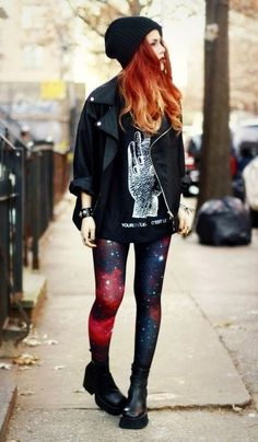 Love the grungy look! Black leather jacket | leggings | black military boots | striking red hair | black stocking hat