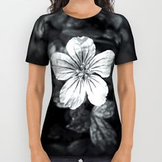 Minimalistic black and white flower petal all over print shirt by #PLdesign #flowers #blackandwhite #FlowerGift