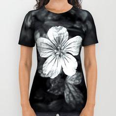 Minimalistic black and white flower petal all over print shirt by #PLdesign #flowers #blackandwhite #FlowerGift