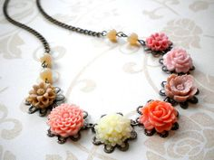 Flower Necklace Pastel Necklace Peach Jewelry Ivory Beadwork Glass Peach Necklace Pastel Jewelry Maid Of Honor Gift on Etsy, $31.00