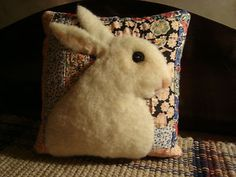 Primitive Rabbit On Antique Quilt Pillow