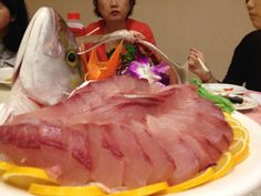 Sashimi. Fresh cut. Yellowtail. Taiwan, Kaohsiung Jan 2014