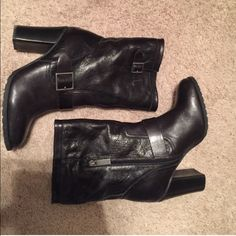 Black leather boots Like new! Black leather Adam Tucker boots. Zip on the inner ankle but more for looks. Buckled sides. Super adorable with leggings, skinny jeans, skirts, etc. Really versatile! Adam Tucker Shoes Heeled Boots