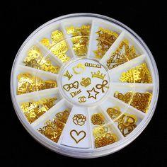 Gold Nail Art Phone Scrapbooking Charm Decoration Stickers DIY Wheel, 12 Styles