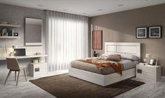 Dormitorios Doria Composición de dormitorio formada por cabezal Athos con mesitas de noche Mylas, de dos cajones. #bedroom, #dormitorio, #natural