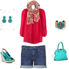 turquoise & red