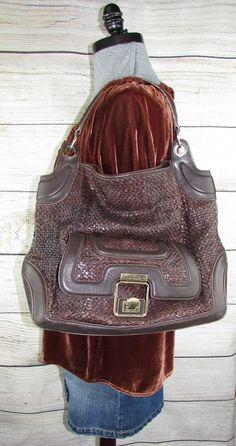 Anya Hindmarch XL Woven Brown Leather Satchel Handbag Shoulder Bag Purse  London  AnyaHindmarch  Satchel 38364d70a4898