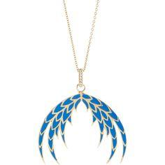 House of Waris  Blue Enameled Plumage Pendant Necklace