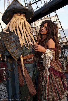 Davy Jones and Tia Dalma