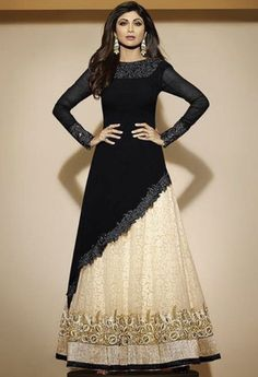 Black Georgette Lehenga Salwar Kameez..Get this salwar suit designed at  nivetas design studio  whatsapp +917696747289 http://www.facebook.com/punjabisboutique we deliver world wide