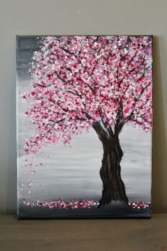 Painting a Cherry Blossom Tree with Acrylics and Cotton Swabs! - - Looking for an EASY cherry blossom tree painting tutorial? Use a canvas, acrylics & Q-Tips to make this simple step-by-step cherry blossom tree painting. Easy Canvas Art, Simple Canvas Paintings, Small Canvas Art, Easy Canvas Painting, Easy Art, Painting Art, Painting Tools, Cotton Painting, Diy Canvas