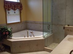 corner tub w larger walk in shower do not like the wall next to vanity tub seems closed in home sweet home pinterest corner tub tubs and vanities. Interior Design Ideas. Home Design Ideas