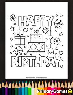 Free printable online Happy Birthday Coloring Pages eBook for use in your classroom or home from PrimaryGames. Print and color this Happy Birthday coloring page. Coloring Birthday Cards, Happy Birthday Coloring Pages, Cute Coloring Pages, Disney Coloring Pages, Free Printable Coloring Pages, Adult Coloring, Coloring Books, Fairy Coloring, Kids Coloring