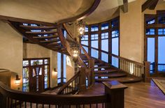 Lovely chalet stairs on a Michael Upwall designed lodge. Utah, Mountain Dream Homes, Deer Valley Resort, Grand Staircase, Staircase Ideas, Mansions Homes, Life Design, Architect Design, Luxury Life
