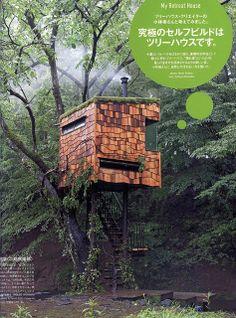 Artsy, neat looking tree house. Has custom wavy shingles, disappearing corner (window), woodstove