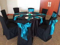 Half our tables will have black linens with teal napkins and half will have teal linens with black napkins. All will have the gorgeous sequined table runner.