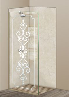 Shower Divider Panel featuring the Carmona design in the 1D Positive Clear effect by Sans Soucie Art Glass. Design elements are sandblast etched on the top surface of smooth, clear glass, and are solid white shapes.  This effect is considered semi-private, as the clear glass background area of the glass, will vary by design.
